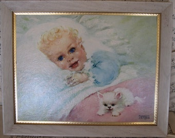 vintage oil painting baby kitty