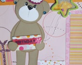 BIRTHDAY GIRL 12 X 12 TWO PAGE SCRAPBOOK LAYOUT
