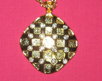 Gold Pendant with Rhinestones
