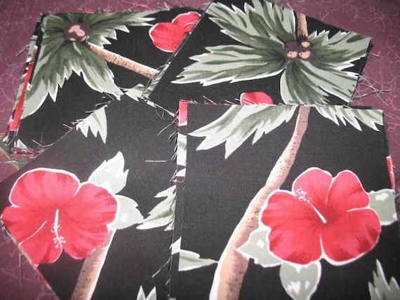 Tropical Hibiscus Flower Fat Quarters Fabric Squares