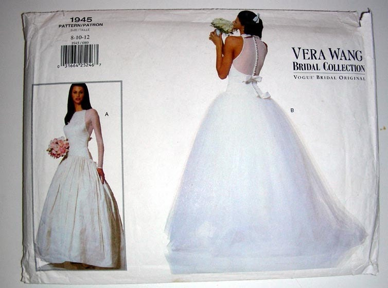 Vintage vera wang bridal dress pattern 1945 vogue original for How to make a wedding dress pattern