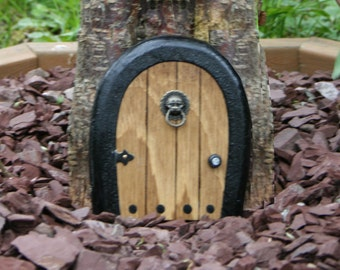 Gnome doors, Fairy Door, Faerie Door, Elf Door,  5 inch rounded with miniature lion knocker.