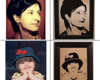 Custom Hand Cut Portrait in Wood, immortalize a picture of a loved one in a beautiful scroll saw portrait