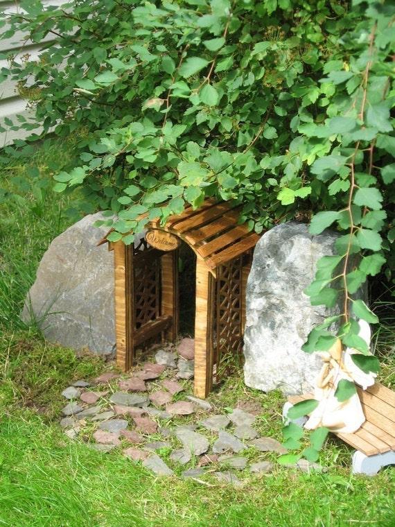 Miniature Gnome, Fairy, Faerie, Elf, Hobbit Rustic Garden Arbor Archway