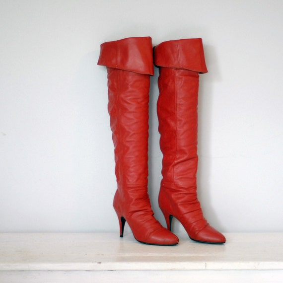 Cherry Red Over the Knee Boots Size 6