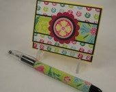 Bold and Bright - floral post it note gift set in pink, turquoise, green, yellow - with beaded pen