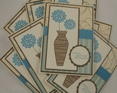 Set of 8 flower vase thank you notes in kraft, brown, blue and ivory