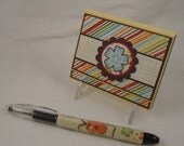 Tropical Blue - post-it note holder with beaded pen - floral gift set in red, yellow, orange, blue, green and brown