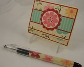 Flower Fusion - post it note holder with matching beaded pen - cute floral gift set in pink, red, aqua and green