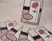 Set of 6 modern floral thank you notes in raspberry purple, black, tan and white