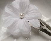 Flower Hair Clip with Pearl- Wedding Hair Accessory