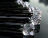 Diamond Swarovski Crystal Hair Pins (set of six) clear crystal wedding bobby pins hair accessory