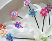 Flower Hair Pins - Set of five - assorted in pretty pink, blue, yellow, purple, orange