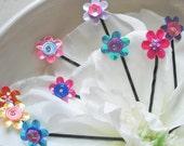 Flower Hair Pins - Set of five - assorted in pretty pink, blue, yellow, purple, orange