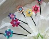 Sequin Flower Hair Pins - Adorable - set of 12 assorted colors - pink, blue, yellow, purple, orange - Girls, Tweens, Teens