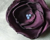 Flower Pin in Grape / Plum / Eggplant Taffeta with Light Blue Opal Swarovski Crystals - Wedding Hair