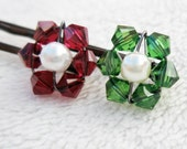 Christmas Hair Pins - Set of 2 Flowers Swarovski Crystal / Pearl Bobby Pin Red Green