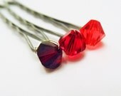 Red Ombre Hair Pins - Red Hues (3 pairs / set of 6 bobby pins) Fire Red Ombre