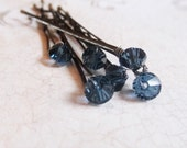 Blue Crystal Hair Pins (set of six) Montana Blue Sapphire Swarovski Wedding Hair Accessory Bobby Pin