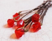 Bright Red Crystal Hair Pins (wedding bobby pins set of 6) Light Siam Swarovski Crystal