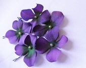 Violet Hair Pins Purple Flower Cream Swarovski Pearl Hydrangea (set of 5 bobby pins)
