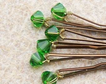 Fern Green Hair Pins Swarovski Crystal (wedding bobby pins - set of 6)