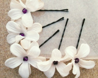 Flower Bobby Pins with Purple crystal centers (wedding hair accessories - set of 5)