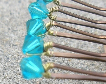 Bright Aqua Hair Pins - Swarovski Crystal (set of 6) indicalite / teal