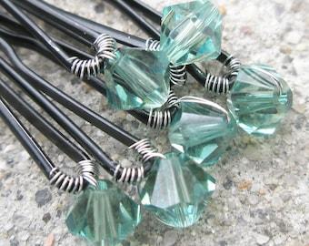 Green Hair Pins - Earthy Green Swarovski Crystal (set of 6 wedding bobby pins - Erinite)