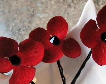 Poppy Red Flower Black Swarovski Crystal Hair Pins (set of 5 bobby pins) wedding hair Veterans Armistice Remembrance Day