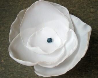 Flower Pin Diamond White Taffeta with Royal (Montana) Blue Swarovski Crystal Center - Hair pin, Ponytail, Brooch