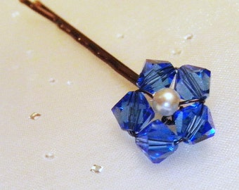 Blue Flower Hair Pin - Sapphire Swarovski Crystal / Pearl Bobby Pin