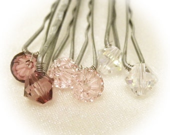 Pink Ombre Hair Pins - Romantic Hues (set of 6 bobby pins) Vintage Rose, Antique Pink, Clear Crystal -- Wedding Hair Accessory