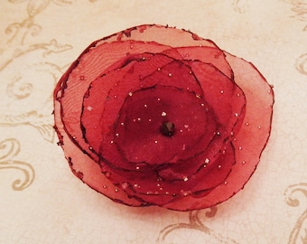 Red Organza Flower Pin with Diamond Effects and Swarovski Crystal (scarlet, apple red, crimson)
