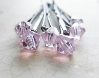 Light Pink Crystal Hair Pins - Rosaline Swarovski (wedding bobby pins set of 6) hair accessory