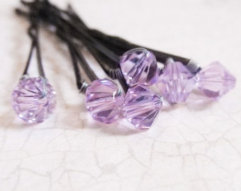 Violet Hair Pins (set of six bobby pins) wedding hair accessory lavender, lilac, orchid