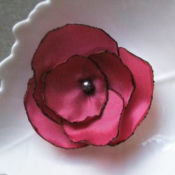 Rose Taffeta Flower - Honeysuckle with Swarovski Pearl (pin / hair pin / ponytail elastic) raspberry pink