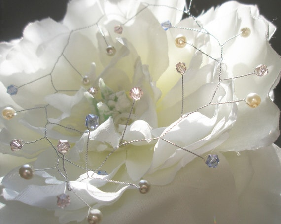 Design Your Own Hair Vine (select your own colors) Swarovski crystals and pearls OOAK - Wedding Hair Accessory