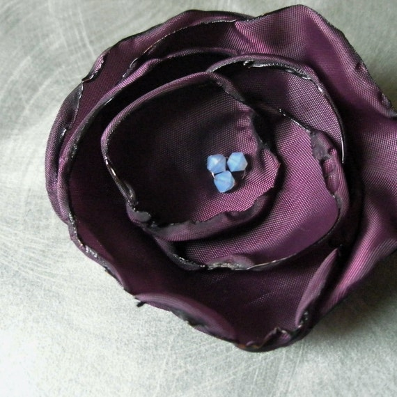 Flower Pin in Grape / Plum / Eggplant Taffeta with Light Blue Opal Swarovski Crystals - Wedding Hair