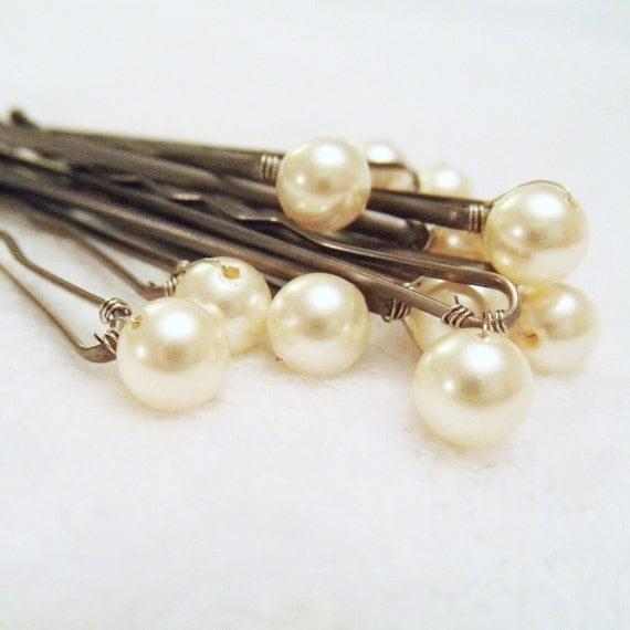 Pearl Hair Pins - 6 Cream OR Ivory Bridal Hair Bobby -- Wedding Hair Accessory