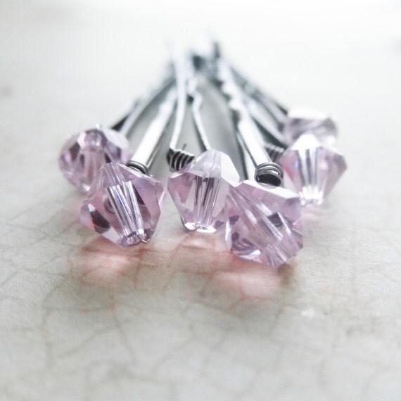 Light Pink Crystal Hair Pins - Rosaline Swarovski (wedding bobby pins set of 6) hair accessory