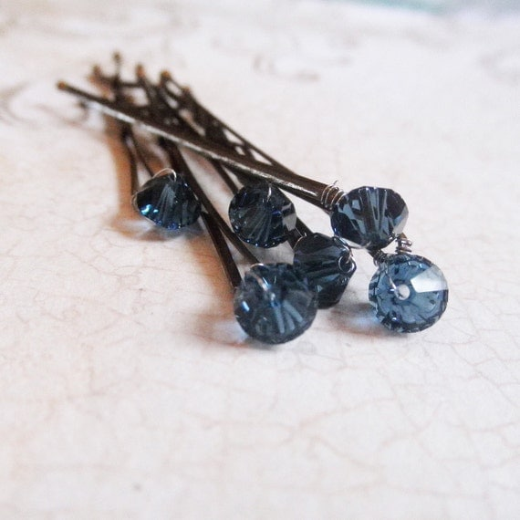 Blue Crystal Hair Pins (set of six) Montana Blue Sapphire Swarovski Wedding Hair Accessory Bobby Pin