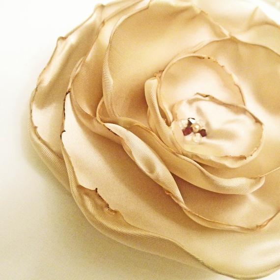 Champagne Satin Flower Swarovski Crystal Pin / Fascinator Gold  -  Wedding Hair Accessory
