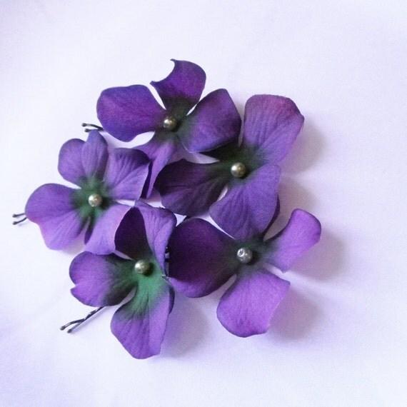 Violet Hair Pins Purple Flower Cream Swarovski Pearl Hydrangea (set of 5 bobby pins)