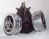 Bio Hazard respirator gas maskSILVER CHROME