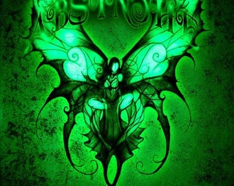 Green Fairy- dark gothic fantasy Absinthe print by Jesse Lindsay, full color 11x17 surreal, visionary fairy print, signed & ready to frame