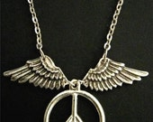 Vintage Silver PEACE and FREEDOM WING Brass Charm Necklace