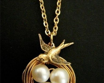 Handcrafted Swallow Bird Fresh Water Pearl Gold Wire Wrapped Nesting Charm Necklace