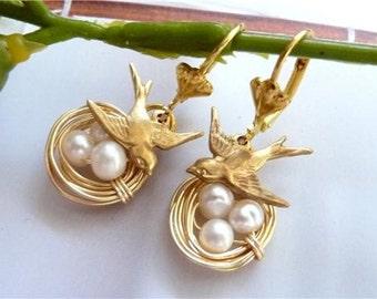 Unique Gold Swallow Bird Nest Fresh Water Pearl Brass Charm Earring
