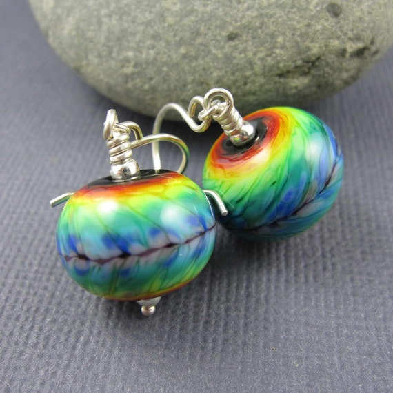"Handmade lampwork glass and sterling silver earrings, ""Rainbow Tie-Dye"" art glass beads, FHFteam Y3, GBUK, SRA"